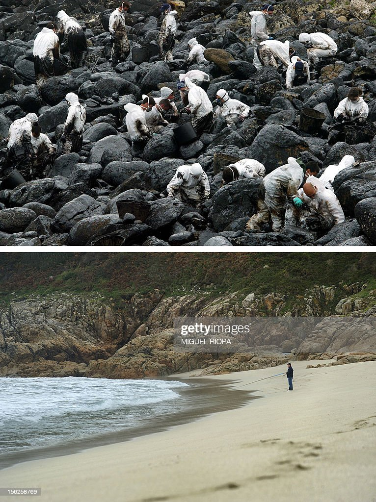 A combination of pictures shows volunteers cleaning up the oil covered rocks on a beach of Muxia, northwestern Spain, following the sinking of the Prestige oil tanker off Spain, on April 17, 2003 (top) and a fisherman standing on the same beach on November 8, 2012. Ten year ago the Prestige leaked 50,000 tonnes of fuel into the Atlantic after it sank off northern Spain. It took on water in a storm on November 13, 2002, and drifted for six days before breaking up and sinking. AFP PHOTO / MIGUEL RIOPA