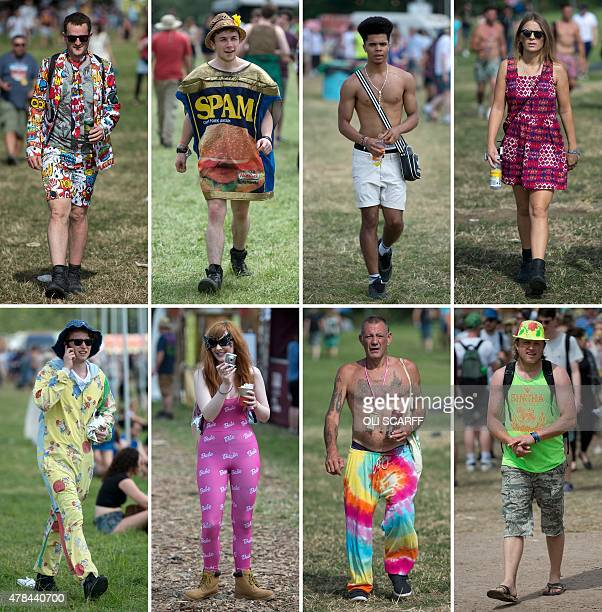 A combination of pictures taken and created on June 25 2015 shows revellers attending the Glastonbury Festival of Music and Performing Arts on Worthy...