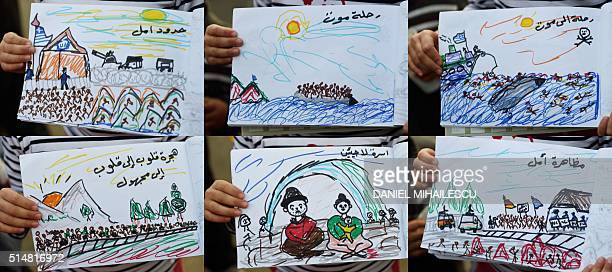 TOPSHOT A combination of pictures taken and made on March 11 2016 shows drawings made by 8yearold Schecherezade from Aleppo Syria displaying her...