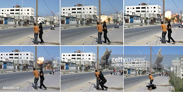 A combination of pictures taken in Gaza City on August 23 2014 shows Palestinian men watching and then running as an Israeli bomb drops down and hits...