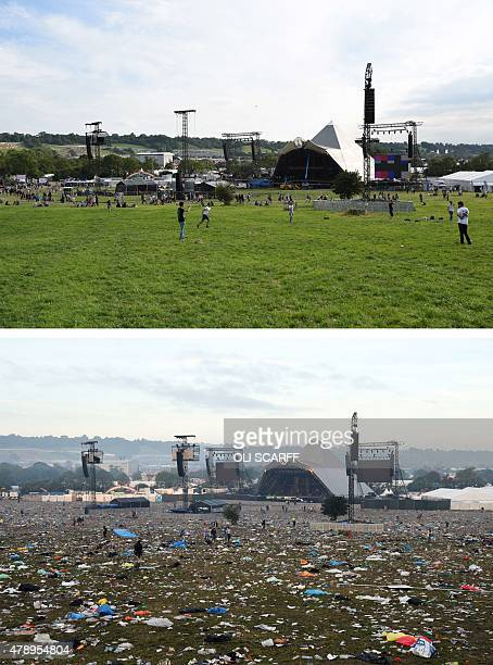 A combination of pictures taken on June 24 2015 and June 29 2015 shows the field in front of the Pyramid Stage before and after the Glastonbury...