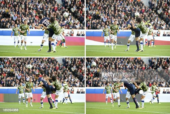 A combination of pictures taken on October 19 2013 shows Paris SaintGermain's Swedish forward Zlatan Ibrahimovic kicking the ball to score during the...