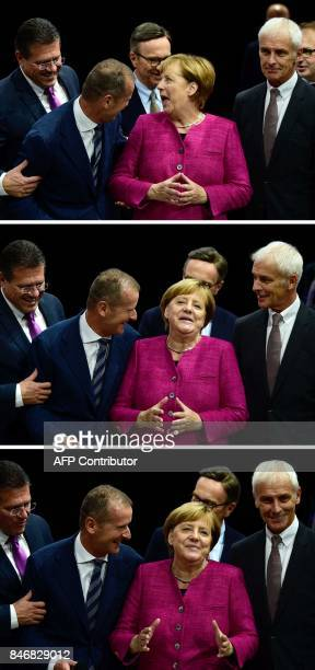 Combination of pictures taken on September 14 2017 shows German Chancellor Angela Merkel being flanked by Volkswagen chairman Matthias Mueller and...