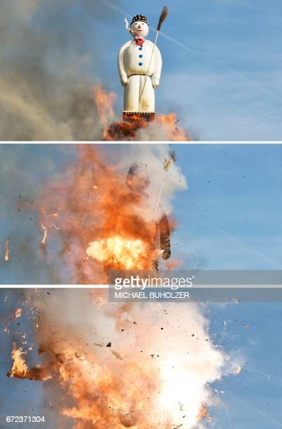 A combination of three pictures shows the Boeoegg a giant symbolic snowman made of wadding and filled with firecrackers burning ontop a bonfire in...
