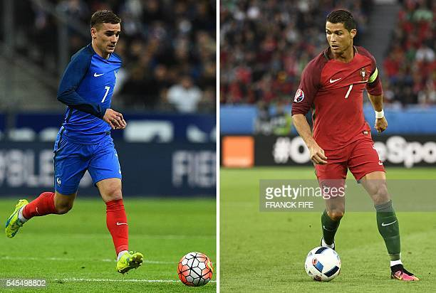 A combination of two file pictures made on July 8 2016 shows France's forward Antoine Griezmann in SaintDenis north of Paris on March 29 and...