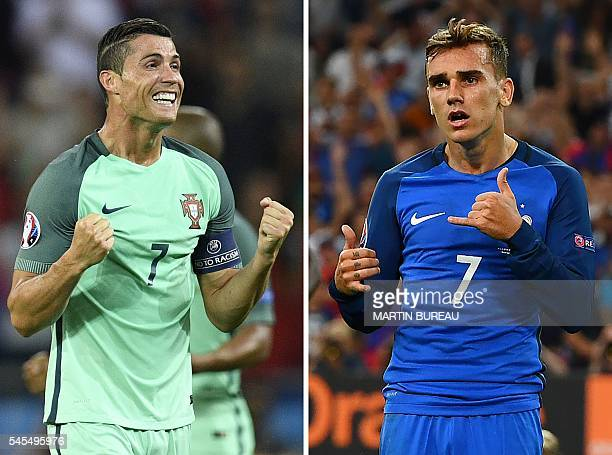 A combination of two file pictures made on July 8 2016 shows Portugal's forward Cristiano Ronaldo in DecinesCharpieu near Lyon on July 6 and France's...