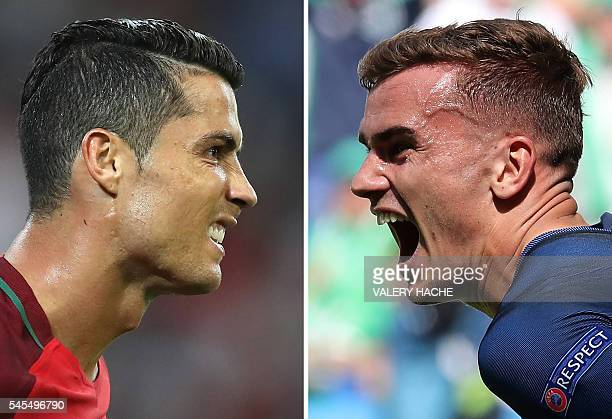 A combination of two file pictures made on July 8 2016 shows Portugal's forward Cristiano Ronaldo in Marseille on June 30 and France's forward...