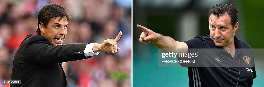 A combination of two file pictures shows Belgium's coach Marc Wilmots (R) in Lausanne on May 27, 2016 and Wales' coach Chris Coleman in Paris on June 25, 2016. Wales face Belgium in Lille on July 1, 2016 in the quarter-finals of the Euro 2016 football tournament. / AFP / Fabrice COFFRINI AND Paul ELLIS