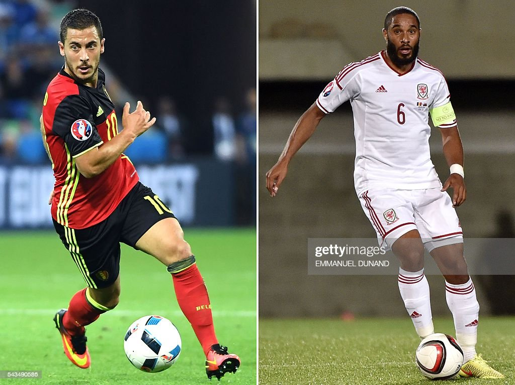 A combination of two file pictures shows Belgium's forward and captain Eden Hazard in Lyon on June 13, 2016 and Wales' defender and captain Ashley Williams in Andorra on September 9, 2014. Wales face Belgium in Lille on July 1, 2016 in the quarter-finals of the Euro 2016 football tournament. / AFP / Emmanuel DUNAND AND Pascal PAVANI