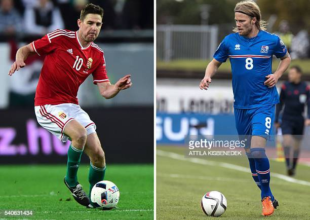 A combination of two file pictures shows Hungary's forward Zoltan Gera in Budapest on March 26 2016 and Iceland's midfielder Birkir Bjarnason in...