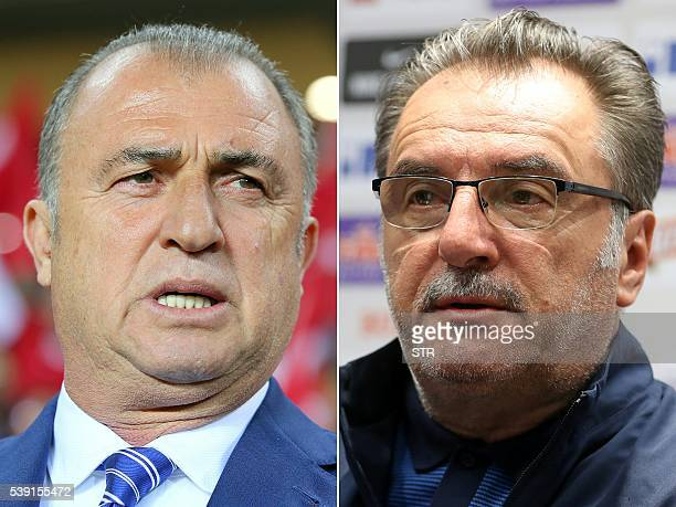 A combination of two file pictures shows Turkey's coach Fatih Terim in Antalya on March 24 2016 and Croatia's coach Ante Cacic in Rovinj on June 1...