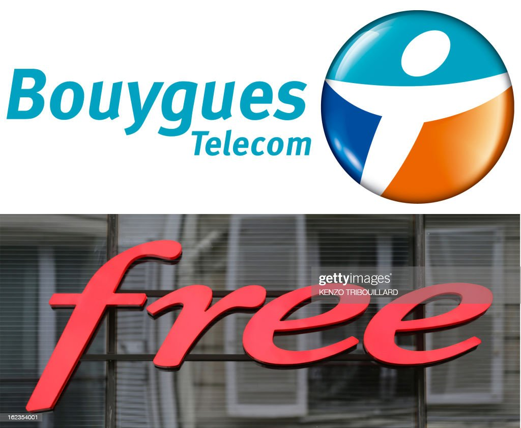 A combination of two pictures made on February 22, 2013, shows the logo of French mobile network operators and internet service providers Free Mobile (made on June 26, 2012) and Bouygues Telecom (made on November 23, 2007). A Paris court charged on February 22, 2013 the French Iliad group, owner of Free, to pay a 25 million euro (about 33 million US dollar) fine to Bouygues Telecom for 'denigration'. The court also charged Bouygues Telecom to pay a 5 million euro (6.5 million US dollars) fine to Iliad, which lodged a complaint against Bouygues telecom for the same reason.