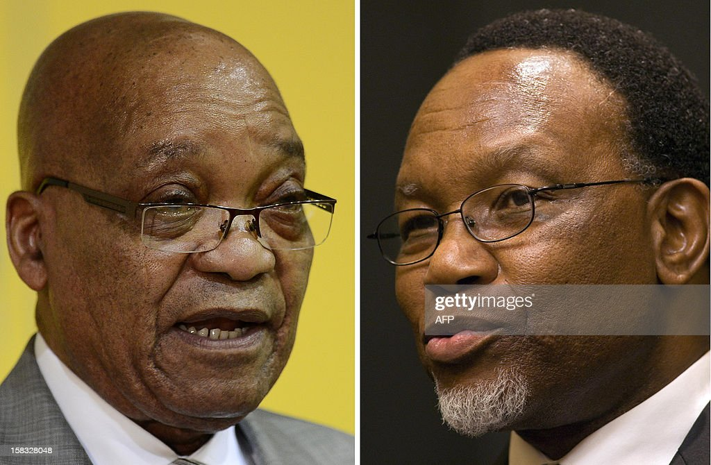 A combination of two pictures shows (at L) South African president Jacob Zuma on October 30, 2012 in Pretoria and (at R) South African then president Kgalema Motlanthe in Cape Town. Jacob Zuma will face a leadership challenge from his deputy when the ruling ANC gathers for a party conference on December 16, 2012 with the winner inheriting a century-old movement mired in a deep crisis. Roughly 4,500 delegates will gather in Bloemfontein to decide whether Zuma, or Deputy President Kgalema Motlanthe, will lead the African National Congress and the country through to 2019.