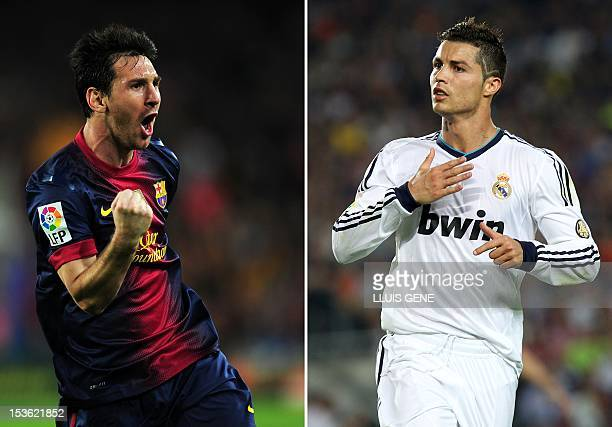 A combination of two pictures taken on October 7 2012 shows Barcelona's Argentinian forward Lionel Messi and Real Madrid's Portuguese forward...