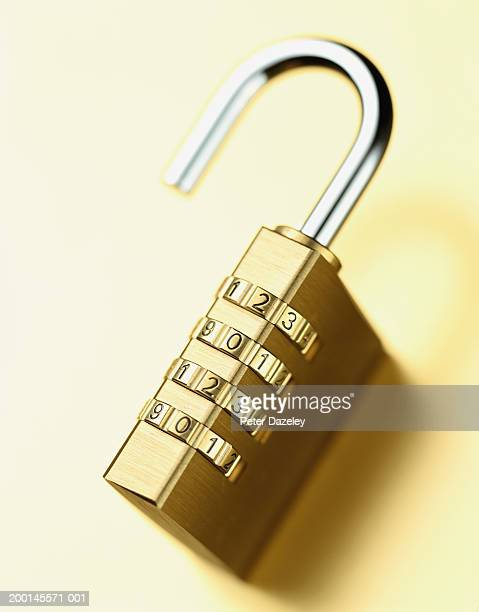 Combination padlock, close up