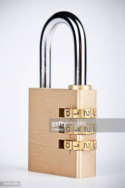 Combination padlock, isolated on white