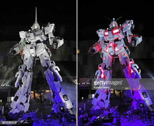 Combination photo shows a statue of the Unicorn Gundam robot from the 'Mobile Suit Gundam Unicorn' anime series and after it transforms itself into...
