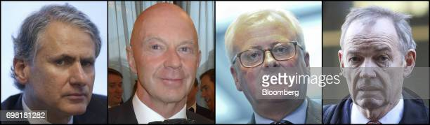 A combination photo shows left to right Thomas Kalaris former chief executive officer of Barclays Wealth Roger Jenkins former chairman of investment...