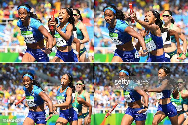 TOPSHOT Combination photo shows USA's Allyson Felix failing to hand the baton to USA's English Gardner competes in the Women's 4 x 100m Relay Round 1...