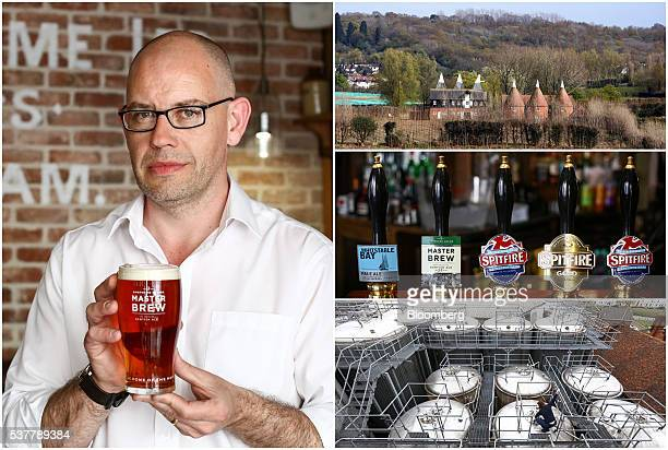 A combination photograph shows Brendan McBride manager of the The Sun Inn a Shepherd Neame Plc pub holding a pint of Master Brew ale in Faversham UK...