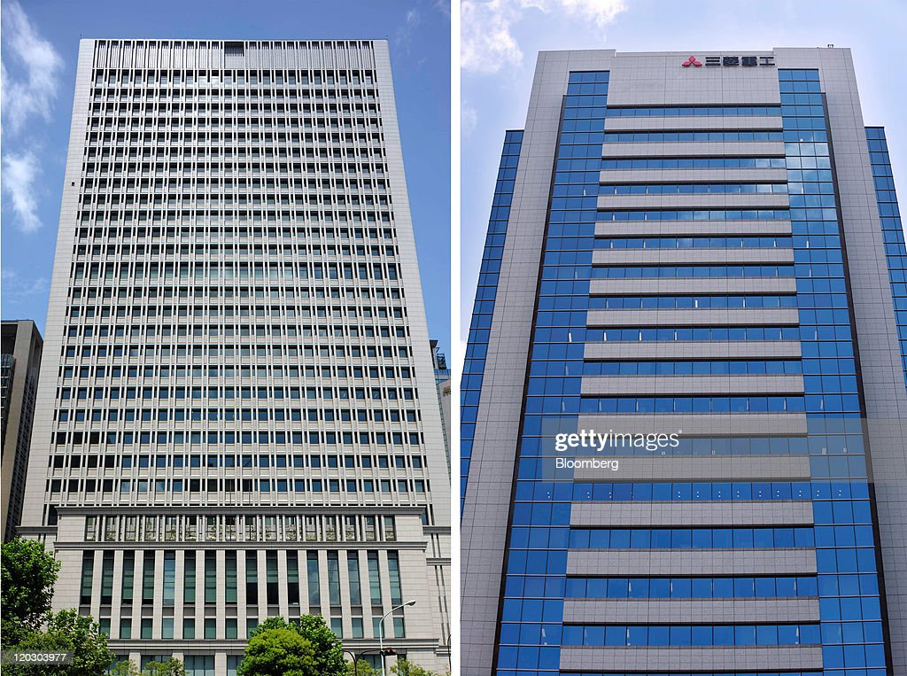 A combination photograph shows the building which houses the Hitachi Ltd. headquarters, left, and Mitsubishi Heavy Industries Ltd.'s headquarters in Tokyo, Japan, on Thursday, Aug. 4, 2011. Mitsubishi Heavy Industries Ltd. and Hitachi Ltd. said they're not holding talks to merge some of their businesses, hours after the president of Hitachi said that a deal was being discussed. Photographer: Akio Kon/Bloomberg via Getty Images