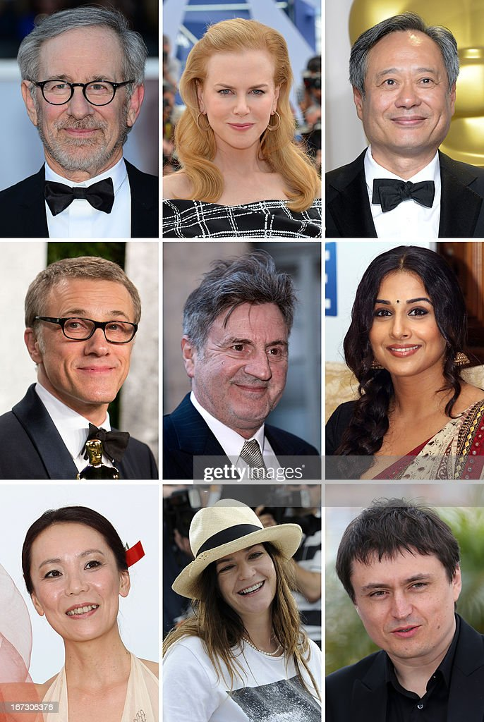 Combination picture created on April 24, 2013 shows the president of (from top L) 66th Cannes film festival president Steven Spielberg and memebers of the jury, Australian actress and producer Nicole Kidman, Taiwanese director, producer and scriptwriter Ang Lee, (from center L) Austrian actor Christopher Waltz, French actor and director Daniel Auteuil, Indian actress Vidya Balan, (from bottom L) Japanese director Naomi Kawase, Scottish director Lynne Ramsay, Romanian director Cristian Mungiu. The jury, headed by Spielberg, will award the coveted Palme d'Or to one of the 19 films in competition at the May 15-26 festival.