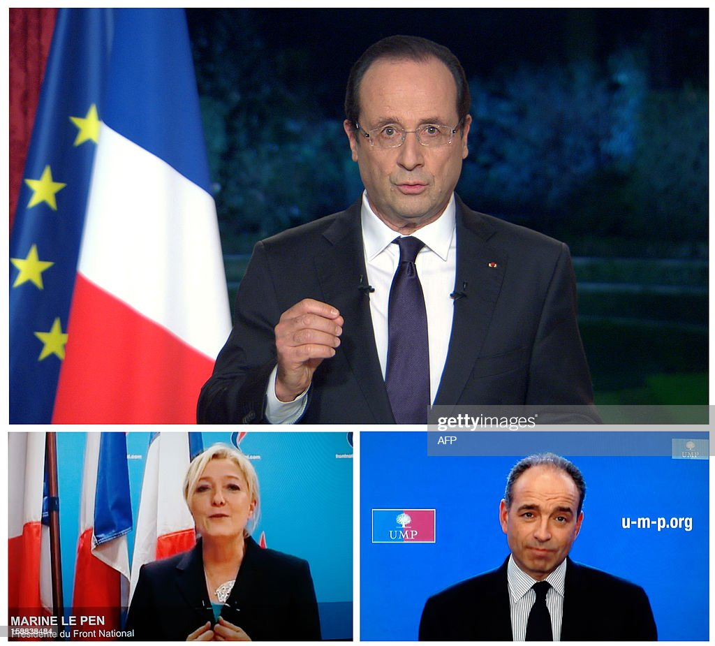 A combinationof TV grabs taken on December 31, 2012 in Paris, on French TV channels shows French President Francois Hollande (top), French UMP opposition right-wing party President Jean-Francois Cope (bottom,R) and President of French far-right party Front national (FN), Marine Le Pen (bottom,L) as they address their New Year's wishes to the nation. AFP PHOTO TV GRABS DESK