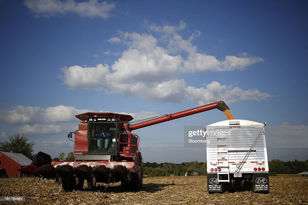 A combine harvester deposits corn into a semi-trailer during a harvest on farm land leased to Tucker Farms in Shelbyville, Kentucky, U.S., on Tuesday, Sept. 24, 2013. Private exporters reported to the U.S. Department of Agriculture (USDA) export sales of 197,200 metric tons of corn for delivery to Mexico during the 2013 and 2014 marketing year. Photographer: Luke Sharrett/Bloomberg via Getty Images