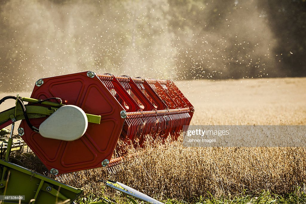 Combine harvester on field, Sweden