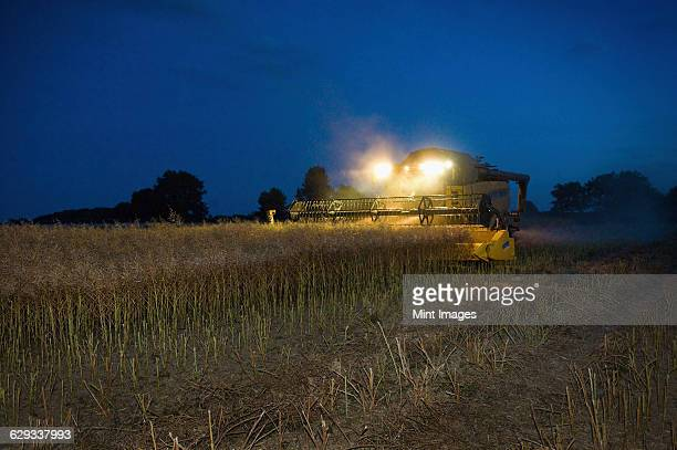 A combine harvester with headlights working at night to harvest a crop.