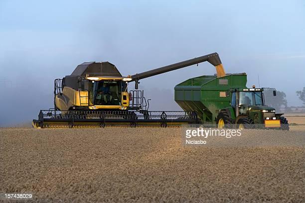 Combine on a field of wheat