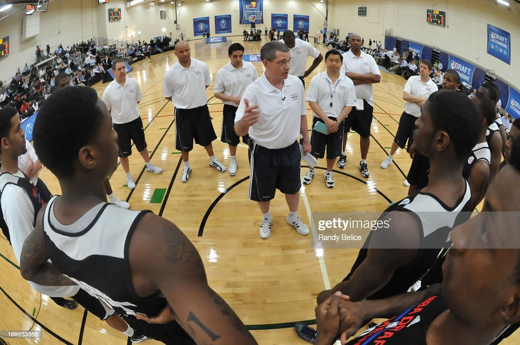 Combine participants take direction from coaches during Day 1 of the 2013 NBA Draft Combine on May 16, 2013 at Quest Multiplex in Chicago, Illinois.