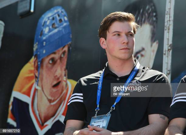Combine Top Prospect Nolan Patrick sits beside a photo of Wayne Gretzky during festivities at the NHL Centennial Fan Arena at KeyBank Center on June...