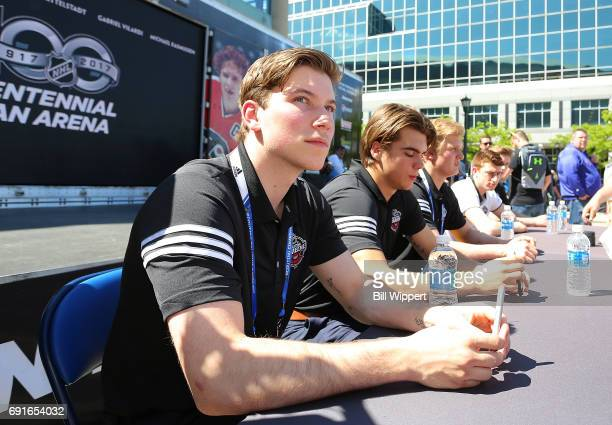 Combine Top Prospects Nolan Patrick and Nico Hischier sign autographs at the NHL Centennial Fan Arena at KeyBank Center on June 2 2017 in Buffalo New...