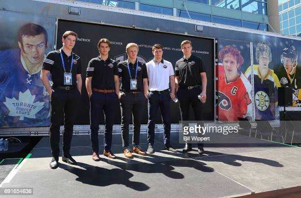 Combine Top Prospects Nolan Patrick Nico Hischier Casey Mittelstadt Gabriel Vilardi and Michael Rasmussen pose for photos during festivities at the...