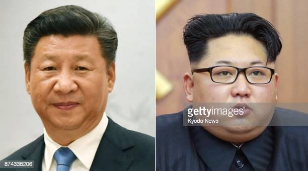 Combined file photo shows Chinese President Xi Jinping and North Korean leader Kim Jong Un Xi is scheduled to send Song Tao head of the Communist...