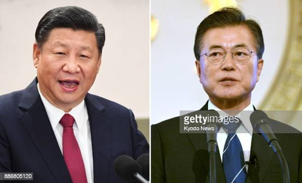 Combined file photo shows Chinese President Xi Jinping and South Korean President Moon Jae In Moon is scheduled to make a fourday state visit to...