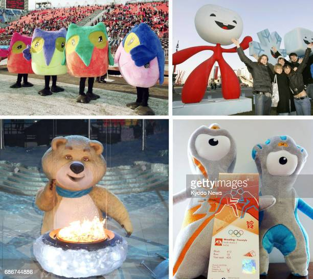 Combined file photo shows past official Olympic mascots for the 1998 Nagano Winter Games the 2006 Turin Winter Games the 2012 London Summer Games and...