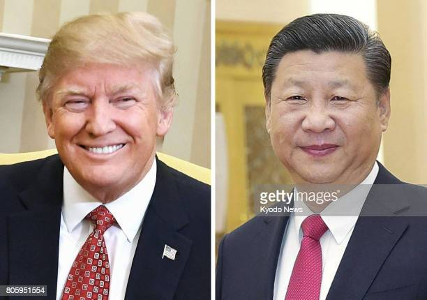 Combined file photo shows US President Donald Trump and Chinese President Xi Jinping Trump told Xi over the phone on July 3 that the threat posed by...