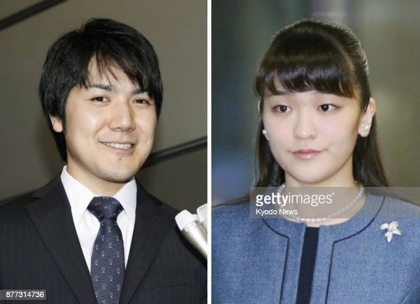 Combined filed photo shows Japanese Princess Mako the eldest grandchild of Emperor Akihito and her longtime boyfriend from university days Kei Komuro...