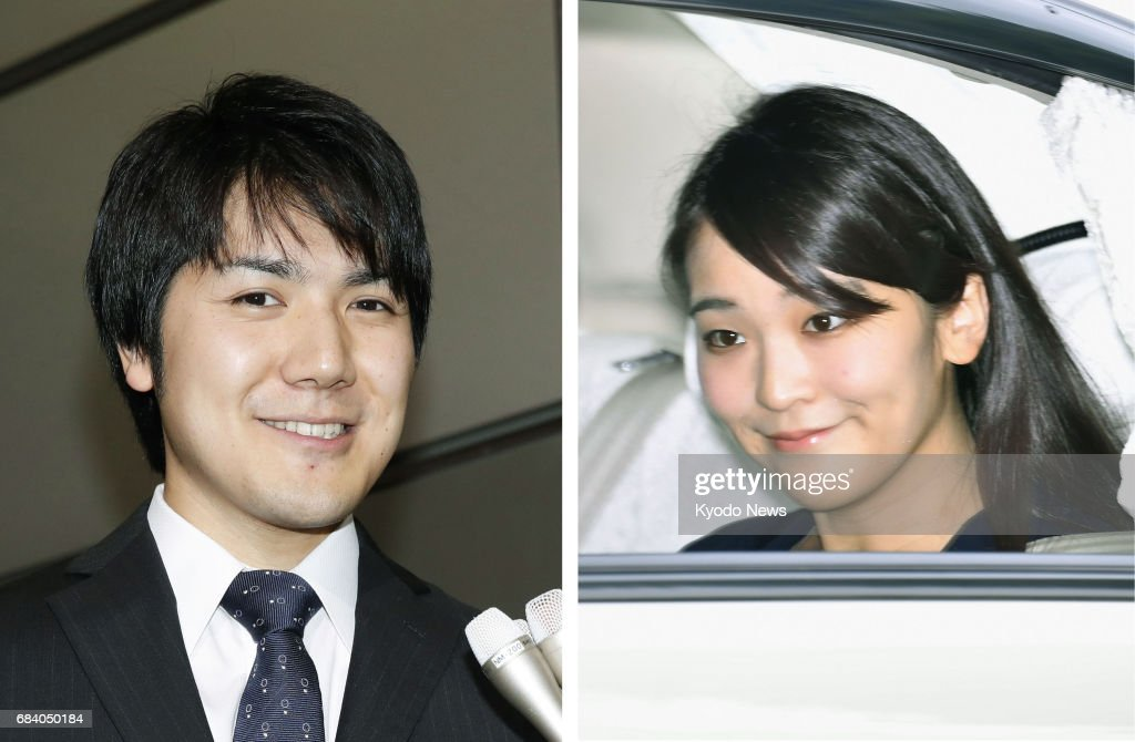 Combined photo shows Japan's Princess Mako (R), the first grandchild of Emperor Akihito, seen when she leaves Tokyo's Akasaka Estate, and Kei Komuro, to whom the princess will soon become engaged, speaking with reporters in Tokyo. Both pictures were taken May 17, 2017, the day after the Imperial Household Agency confirmed media reports about their impending engagement. ==Kyodo