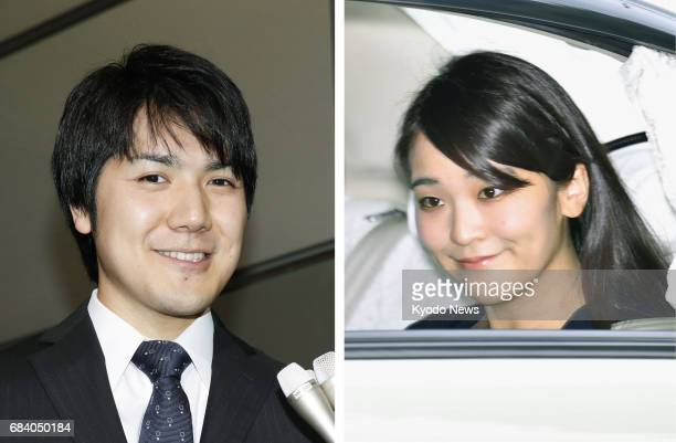 Combined photo shows Japan's Princess Mako the first grandchild of Emperor Akihito seen when she leaves Tokyo's Akasaka Estate and Kei Komuro to whom...
