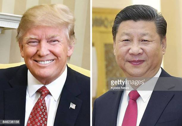 Combined photo shows US President Donald Trump and Chinese President Xi Jinping Trump plans to pay his first visit to China in November 2017...