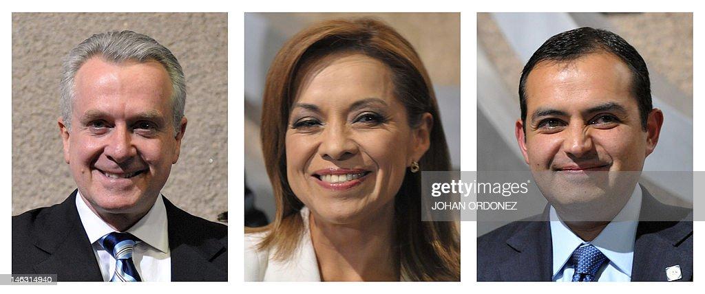 Combined photograph of the three presidential precandidates of the National Action Party Santiago Creel Josefina Vazquez Mota and Ernesto Cordero...