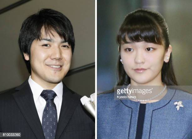 Combined undated photo shows Princess Mako the eldest granddaughter of Emperor Akihito and Empress Michiko and her financetobe Kei Komuro It was...