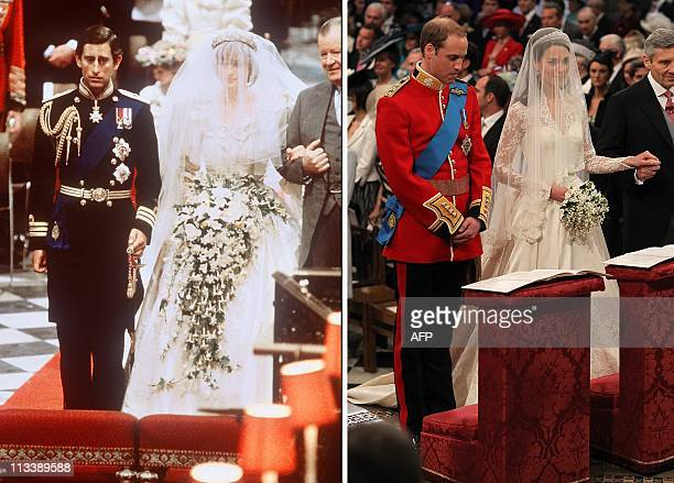 A combo image showing the wedding of Lady Diana Princess of Wales with Prince Charles of Wales at St Paul Cathedral in London on July 29 1981 and an...