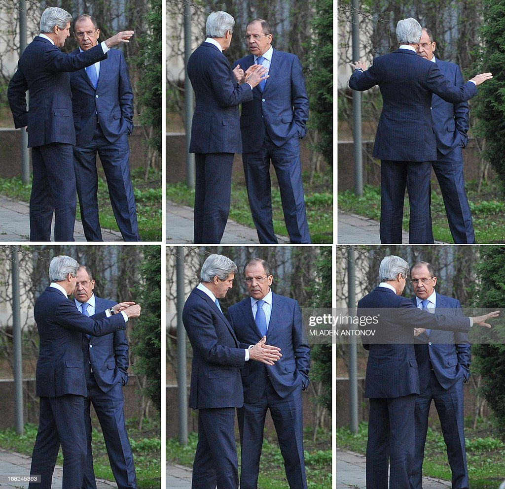 A combo image shows US Secretary of State John Kerry and his Russian counterpart Sergey Lavrov discuss while taking a walk in the garden of the Foreign Ministry Osobnyak in Moscow on May 7, 2013. Kerry arrived today in Moscow for talks with Russian President Vladimir Putin, seeking to restore frayed US-Russia ties and win Moscow's support on the war in Syria.