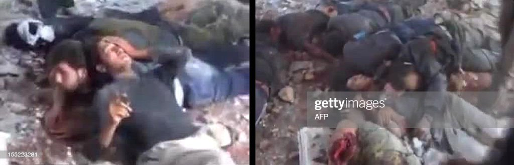 A combo made from grabs taken from videos dated November 1, 2012 and uploaded on YouTube, shows alleged members of Syrian government forces detained (L) by rebel fighters and dead after they executed him at the Hamisho checkpoint near Saraqeb. The videos show armed rebels kicking and executing their prisoners after they forced them to lie down in the destroyed structure of the checkpoint. AFP PHOTO/YOUTUBE == RESTRICTED TO EDITORIAL USE - MANDATORY CREDIT 'AFP PHOTO/YOUTUBE' - NO MARKETING NO ADVERTISING CAMPAIGNS - DISTRIBUTED AS A SERVICE TO CLIENTS - AFP IS USING PICTURES FROM ALTERNATIVE SOURCES AS IT WAS NOT AUTHORISED TO COVER THIS EVENT, THEREFORE IT IS NOT RESPONSIBLE FOR ANY DIGITAL ALTERATIONS TO THE PICTURE