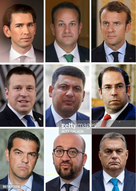 A combo made October 16 2017 with recent file pictures shows current leaders who have acceded to power aged 40 years or younger Austrian...