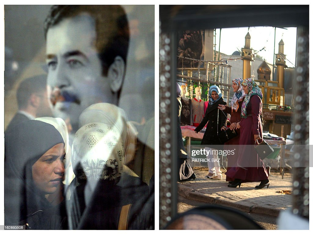 IRAQ -- A combo made of two file pictures taken in Iraq, shows on the left the reflection of women in the glass protecting a large photograph of late former Iraqi President Saddam Hussein on January 25, 2003 in Baghdad and on the right the reflection of women in a mirror displayed by a street vendor on February 4, 2013 in Baghdad's central Karrada neighborhood. Iraq is due to mark the tenth anniversary of the US-led invasion that toppled Saddam Hussein on March 20, 2013.